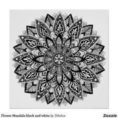 Flower Mandala black and white Poster by Teksluste - My flower mandala as a poster! :)