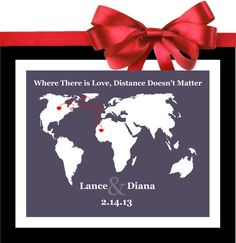 Long Distance Relationship: Personalized Gift For Couples / Quotes Map of World Custom Hearts Unique For Boyfriend Girlfriend Fiance Husband Wife $23.99