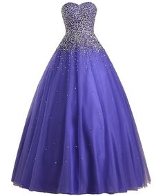 Dreamprom Beading Ball Gown Prom Dress Quinceanera Dresses (Purple, US4)
