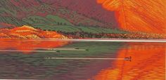 """""""Mergansers on Wastwater"""" reduction linocut edition of 46 image size 60 x 30cm"""