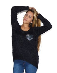Sweater Negro Corazon (Made With) Turtle Neck, Sweaters, Fashion, Black Sweaters, Wraps, Moda, Fashion Styles, Sweater, Fashion Illustrations
