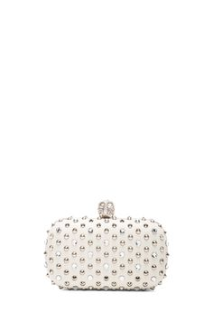 16f21b1ab00 Alexander McQueen Classic Studded Skull Clutch with Swarovski Crystals in  Old Bone