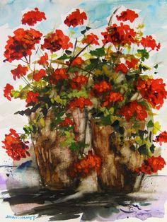 ORIGINAL GERANIUMS WATERCOLOR Painting John Williams art JMW Impressionism #Realism