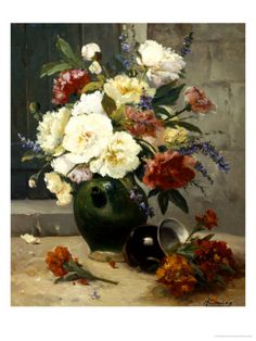 Still Life of Peonies and Wallflowers  by Eugene Henri Cauchois