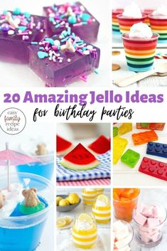 These Jello Ideas for Birthday Parties are so simple and fun to make! There is nothing like a dessert or snack with jello taken up a notch, and these fun party recipes will give you tons of ideas on how to make regular jello, amazing and delicious. Raspberry Jello Cake Recipe, Jello Cake Recipes, Easy Cookie Recipes, Party Recipes, Birthday Party Meals, Birthday Treats, Birthday Cakes, Easy Party Food, Party Snacks