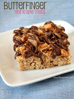 Butterfinger Rice Krispie Treats recipe