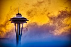 Space Needle with Foggy Sunrise!
