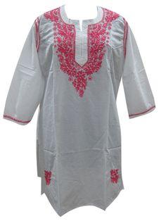 White Tunic Top Long Sleeves Red Floral Design Kurti Kurta