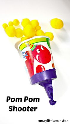 Messy Little Monster: Paper cup pom pom shooter craft for kids