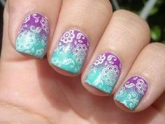 Ombre stamp nail art.
