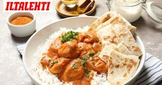 Butter chicken on monen suosikki. Butter Chicken, Garam Masala, Chicken Recipes, Recipies, Curry, Good Food, Dishes, Ethnic Recipes, Recipes