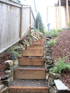 Idea for the backyard - steps to a tiered garden