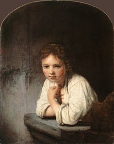 """""""Young girl, leaning on a window parapet"""", 1645 - oil on canvas  ~ Baroque art by Rembrandt van Rijn, Dutch (1606 - 1669)."""