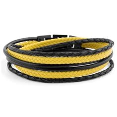 Buy Lucleon - Black & Yellow Roy Leather Bracelet for only Shop at Trendhim and get returns. Yellow Leather, Black N Yellow, Black And Brown, Black Leather Bracelet, Leather Bracelets, Leather Cuffs, Mode Mantel, Bracelet Cuir, Braided Leather