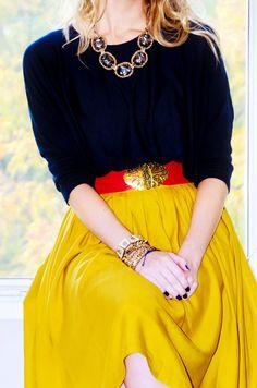 Brights & bracelets & statement necklace [via kbjb:court & hudson]