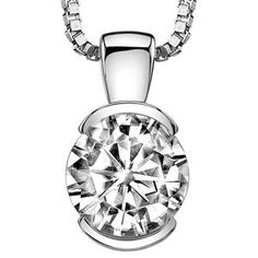 1 1/2 Carat Solitaire Half-Bezel Set Diamond Pendant Necklace in Platinum with a 1.5 Carat J Color SI2-I1 Clarity Round Cut with Platinum Chain (J Color, SI2-I1 Clarity, 1.5 Ct t.w.)
