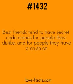 Did You Know?Best friends tend to have secret code names for people they dislike, and for people they have a crush on.. Haha isn't that SO TRUE ? ;)