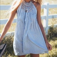 Sabo skirt light blue halter dress open back. adjustable strings. pair with a necklace like in the picture to take the look to the next level. never worn Sabo Skirt Dresses Backless