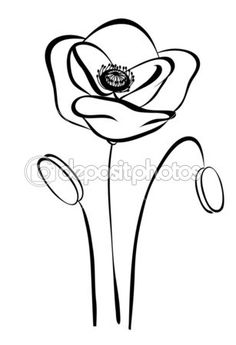 Poppies Drawing at Getdrawings in poppy flower drawing Simple silhouette black and white poppy Abstract flower Simple Flower Drawing, Simple Line Drawings, Simple Flowers, Easy Drawings, Animal Outline, Flower Outline, Pencil Drawings Of Flowers, Flower Sketches, Poppy Coloring Page