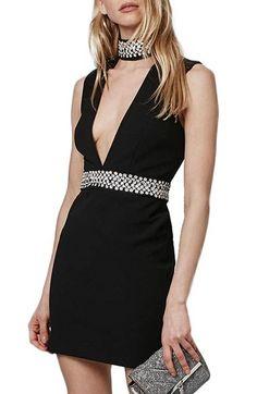 Topshop Embellished Neck Plunge Body-Con Dress