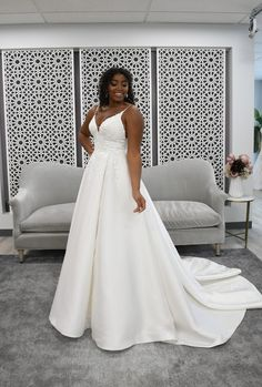 Mikado and lace a-line bridal gown Wedding Dresses Denver, Wedding Dress Styles, Designer Wedding Dresses, Bridal Collection, Dress Collection, Stella York Bridal, Classic Wedding Dress, Bridal Boutique, Bridal Gowns