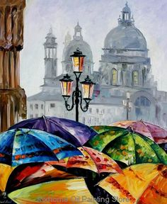 Famous Rainy day in venice by Leonid Afremov reproduction, handmade palette knife landscape painting oil on canvas for home deco