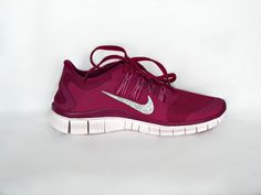 Nike Free Run 5.0 shoes  in Bright Magenta/Summit White with Swarovski crystals detail on ourside swoosh