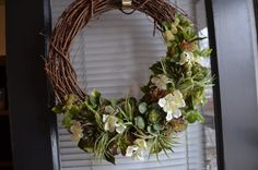 Succulent and Hydrangea Grapevine Wreath by SophiesDeesigns
