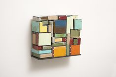 Ted Larsen  Now Then, 2013  salvage steel, rivets, welded steel wall plinth  12 1/4 x 14 x 6 inches