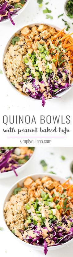 Kick your dinner up a notch with these ASIAN QUINOA BOWLS! With fluffy ginger quinoa, crunchy veggies, crispy baked tofu and a creamy peanut sauce!