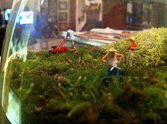 terrarium w/ mini people - use H/O size model train people