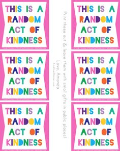 kind over matter | Random Act of Kindness idea checklist and card printables...