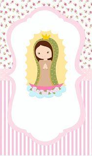 Portadas para tu facebook: Fondos de virgencita para celular Page Borders Design, Border Design, Baptism Party Girls, First Communion Decorations, First Communion Invitations, Invitation Background, Mexican Party, Party Themes, Clip Art