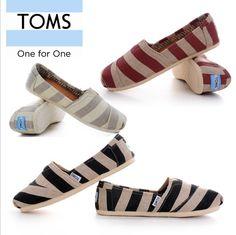 New Arrival Toms Women Zebra Canvas shoes linen stripe flat shoes $17.85.✔✔✔✔