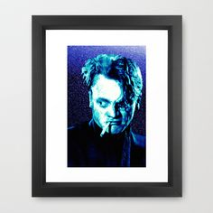 James Cagney, blue Madness. Framed Art Print by seb mcnulty - $31.00