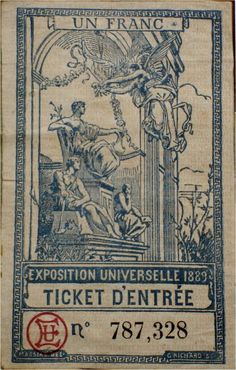 Ticket d'entrée pour l'exposition universelle de 1889