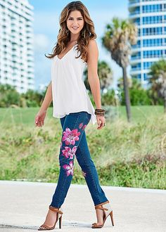 Paired with the Venus ruffle front tank, the Venus floral skinny jean gives your favorite jeans a painted twist!