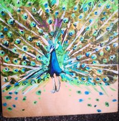 Original art peacock on wood acrylic fine art bird psychedelic art fine art colourful rainbow