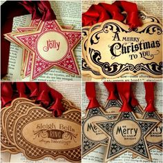 Christmas tags - print on card stock, cut and stain. Or stain first. Have to try this out.