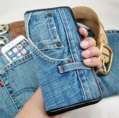 WALLET Unique Handmade Vintage Open Zipper Long bag Handmade Wallet JEANS…