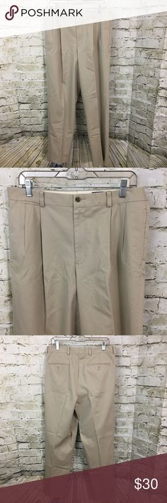 """Eddie Bauer Pleated Khaki Dress Slacks Size 33 This is a pair of Men's Eddie Bauer Wrinkle Resistant Double Pleated Dress Slacks Size 33. The measurements are as followed: Waist: 17"""" Inseam: 31""""  These pants are still in excellent gently used condition. Please take a look at all photos for condition and if you have any questions feel free to ask. Eddie Bauer Pants Chinos & Khakis"""