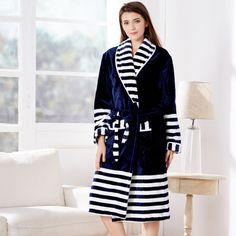 White and navy blue Polyester Women's Bathrobe Peignoir, Winter Trends, Kimono, Navy Blue, Sweaters, Cotton, Colour, Shopping, Future