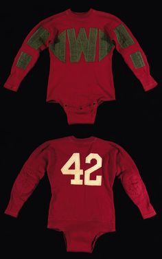 """Vintage football jersey with friction strip design c.1920-30s. Fine quality Spalding red wool jersey has an applied #42 in white numerals on the back with a group of desirable """"friction strips"""" attached to the front and sleeves. Crotch flap retains its original Spalding label and size 44 label. $900"""