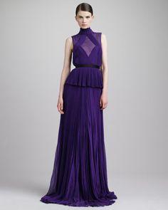 Swiss Dot-Inset Pleated Peplum Gown, Violet by Jason Wu at Bergdorf Goodman.
