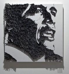 Barack Obama by mmike2. Wood, Paint, Steel & Light