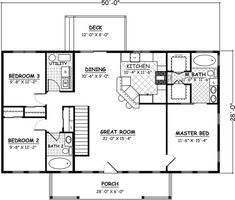 Ranch traditional house plan 40649 level one house plans in 3 Bedroom Home Floor Plans, Small House Floor Plans, Lake House Plans, Family House Plans, Simple Floor Plans, Simple Ranch House Plans, Ranch Style Floor Plans, Barndominium Floor Plans, Ranch Style Homes