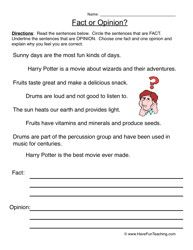 Facts and Opinions Worksheet