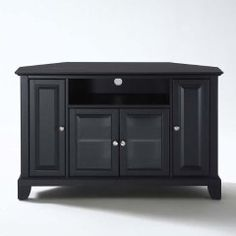 Crosley Lafayette Corner Tv Stand In Black - Save space with this beautifully designed corner TV stand cabinet. It features tempered beveled glass doors and stylish raised panel doors. Black Corner Tv Stand, Blue Tv Stand, Corner Tv Stands, Tv Stand Bookshelf, Corner Media Cabinet, Small Bedroom Colours, Tv Stand Cabinet, Raised Panel Doors, Diy Tv Stand