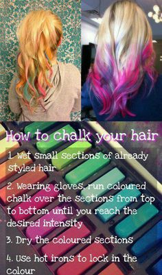 chalked hair (just don't dry it with a hair drier!) Next year's Crazy Hair day!