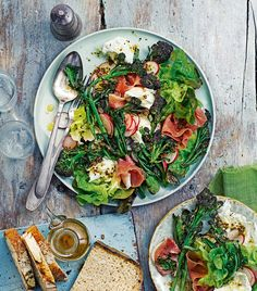 Enjoy bountiful spring produce in this quick salad recipe made with purple sprouting broccoli, parma ham, radishes and mozzarella.